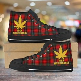 Amazing high maintenance weed leaf golden all over printed high top canvas shoes