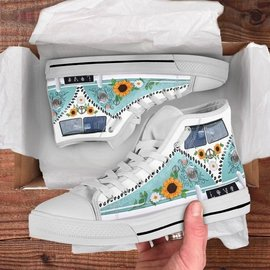 Amazing hippie vans love camping all over printed high top canvas shoes