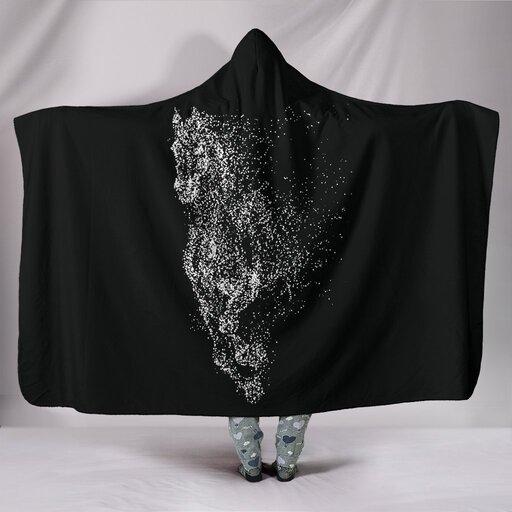 Amazing horse dust full printing hooded blanket