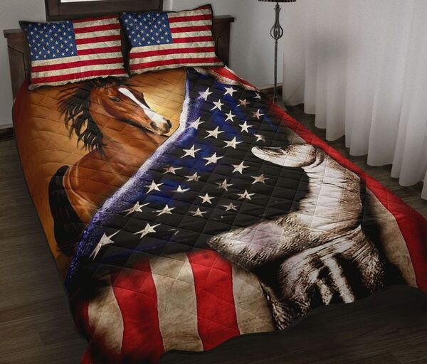 Amazing horse in american flag all over print bedding set