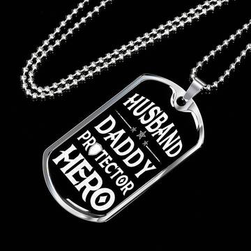 Amazing husband daddy protector hero husband gift dog tag