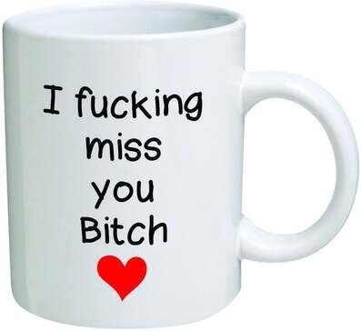 Amazing i fucking miss you bitch red heart mug