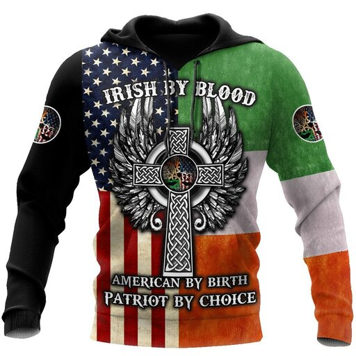 Amazing irish by blood american by birth patriot by choice the celtic cross shirt