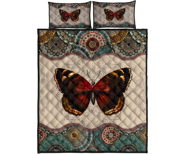 Amazing mandala version butterfly autumn all over print bedding set