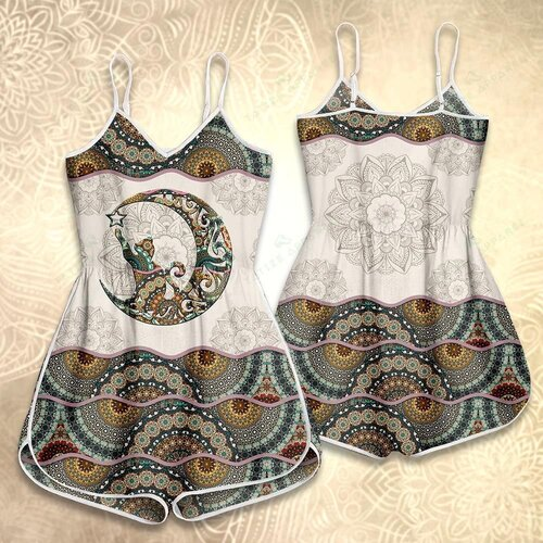 Amazing mandala version cat and moon vintage all over print rompers