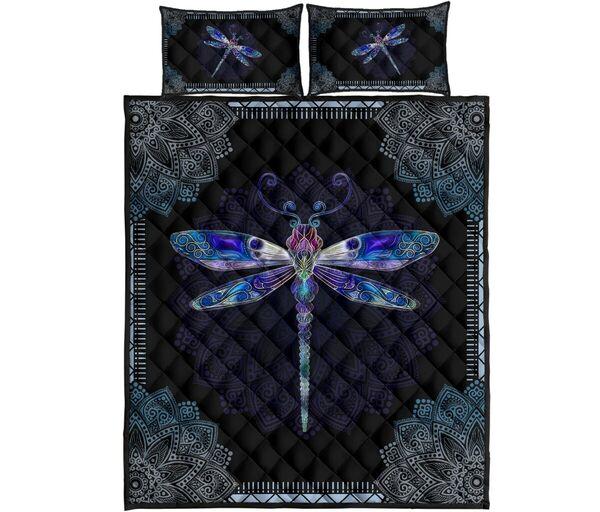 Amazing mandala version dragonfly full over print quilt