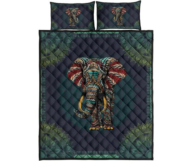 Amazing mandala version elephant all over print bedding set