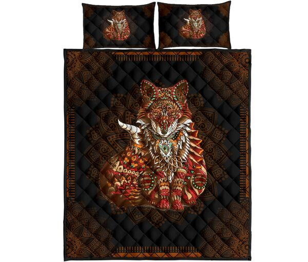 Amazing mandala version fox all over print bedding set