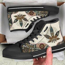 Amazing mandala weed leaf pattern all over print high top sneakers