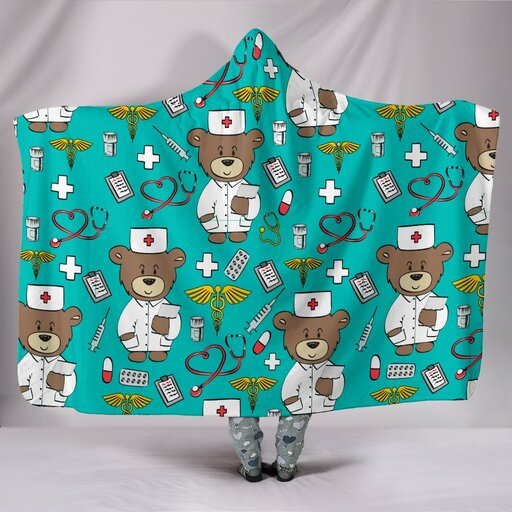 Amazing nursing bear all over print hooded blanket