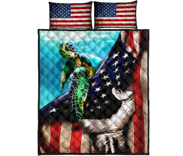 Amazing sea turtle in american flag all over print bedding set