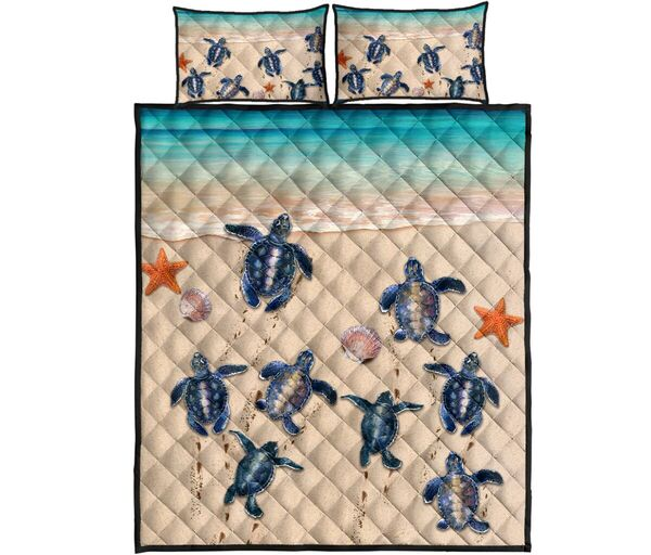 Amazing sea turtle on the beach full over print quilt