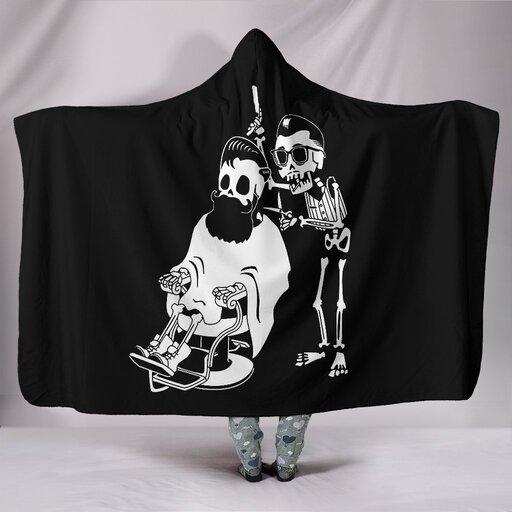 Amazing skull barber hair stylist all over printed hooded blanket