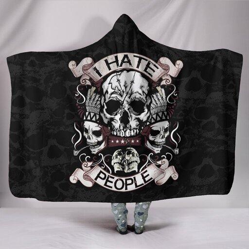 Amazing skull native american i hate people full over printed hooded blanket