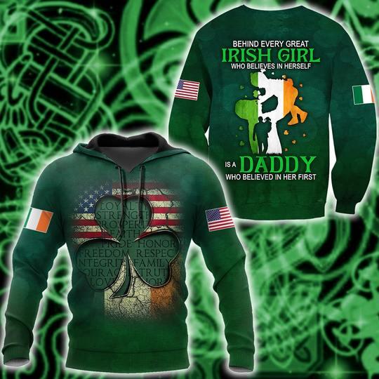 Amazing st patricks day shamrock american flag full printing shirt