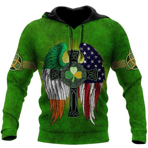 Amazing st patricks day the celtic cross wings full printing shirt