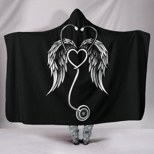 Amazing stethoscope with wings nurse full over print hooded blanket