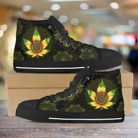 Amazing sunflower weed leaf all over printed high top canvas shoes