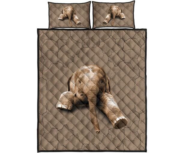 Amazing the elephant in my bed full over print quilt