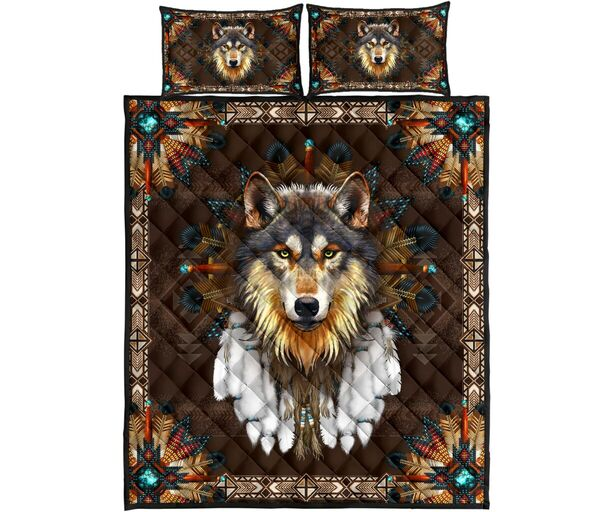 Amazing the wolf american native full over print quilt