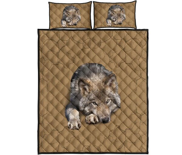 Amazing the wolf in my bed full over print quilt