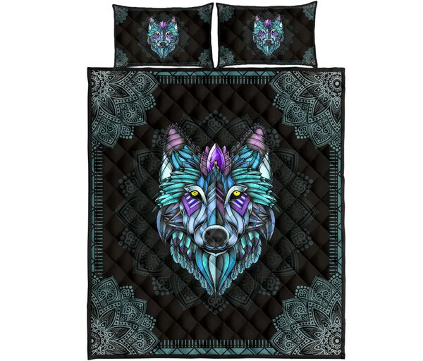 Amazing the wolf in the night mandala full over print quilt