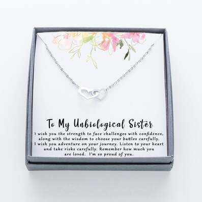 Amazing to my unbiological sister im so proud of you hearts necklace