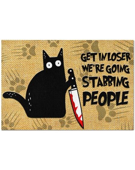 Amazing vintage black cat get in loser we're going stabbing people doormat