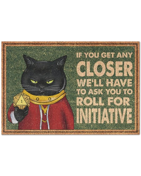 Amazing vintage black cat if you get any closer we'll have to ask you to roll for initiative doormat