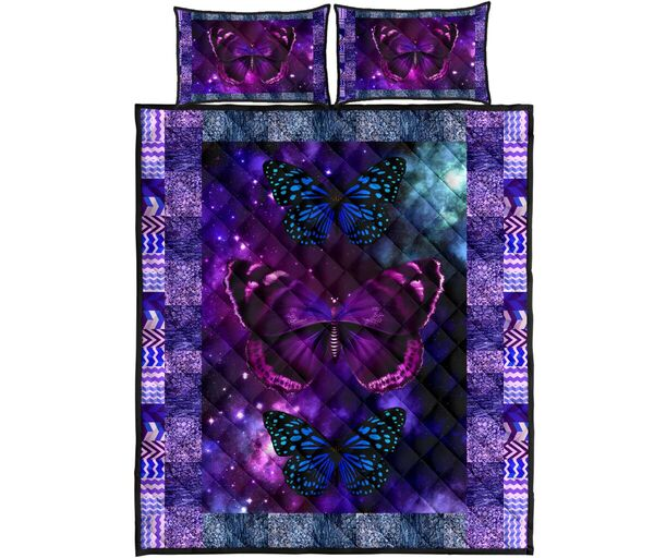 Amazing vintage butterfly galaxy full over print quilt