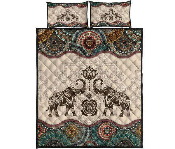 Amazing vintage couple elephants all over print bedding set