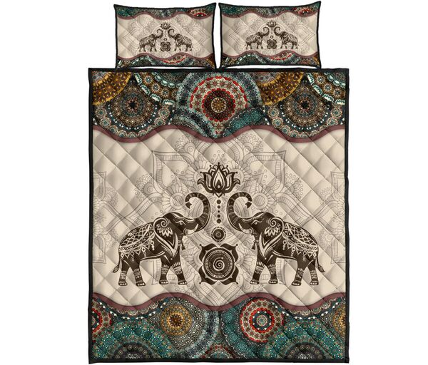 Amazing vintage couple elephants full over print quilt