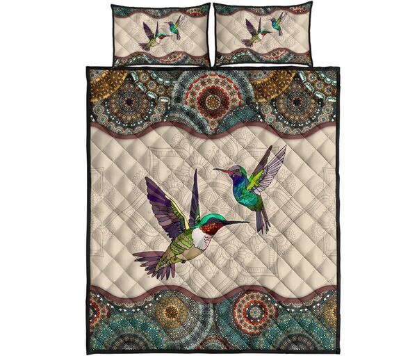 Amazing vintage couple hummingbirds full over print quilt