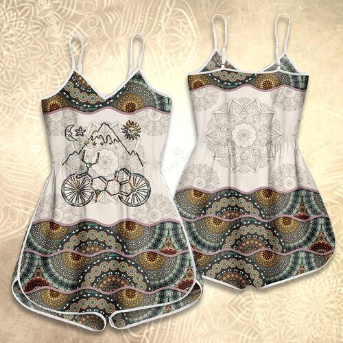 Amazing vintage cycling mandala version all over print rompers