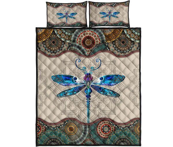 Trending vintage dragonfly crystal all over print bedding set