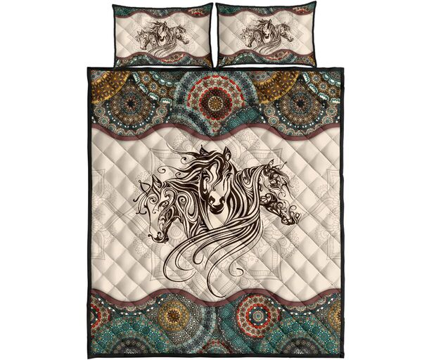 Amazing vintage horse lovers all over print bedding set