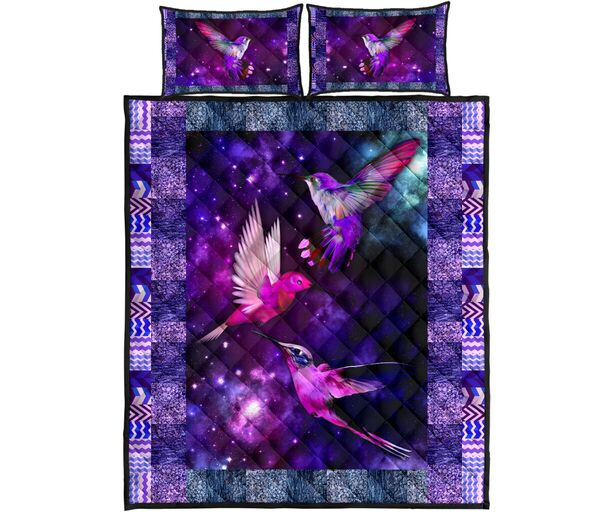Amazing vintage hummingbird galaxy full over print quilt