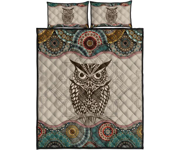 Amazing vintage owl lovers full over print quilt
