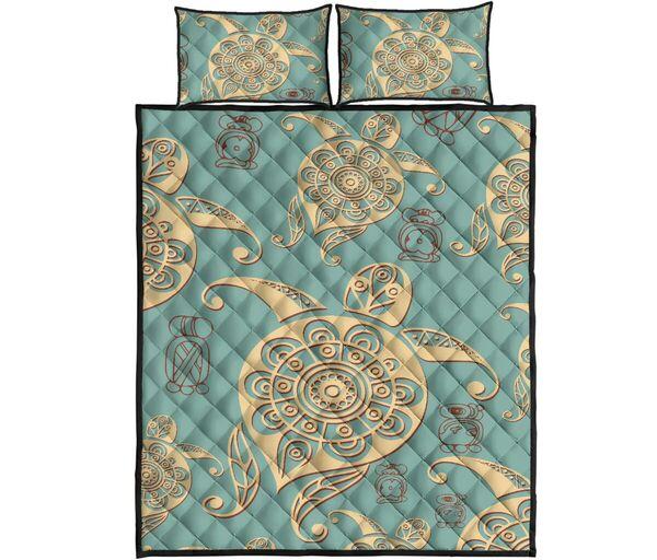 Amazing vintage sea turtle all over print bedding set