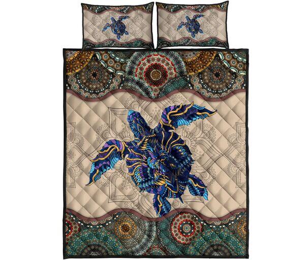 Amazing vintage sea turtle full printing quilt