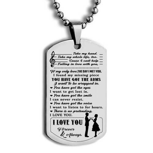 Amazing you have got the arms i love you forever and always dog tag