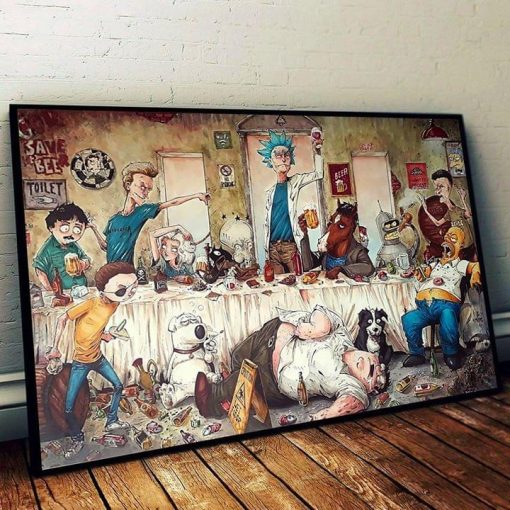 Rick And Morty Family Guy Get Drunk Funny Cartoon Poster