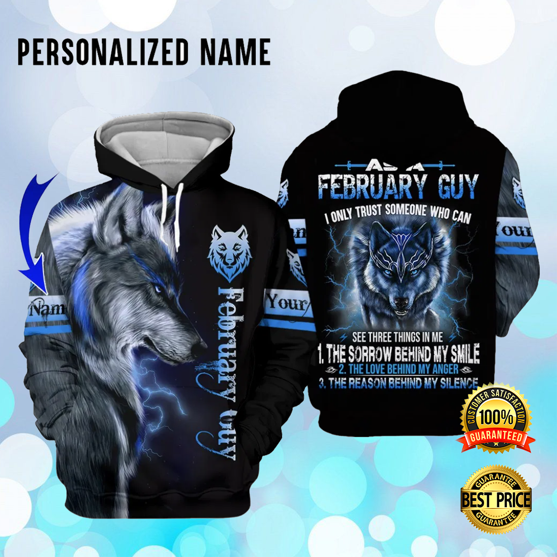 [Trend] Personalized Wolf February Guy I Only Trust Someone Who Can See Three Things In Me All Over Printed 3D Hoodie