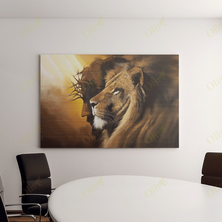 Awesome lion and god canvas