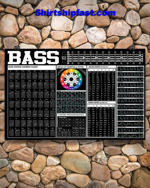Bass guitar black chart poster