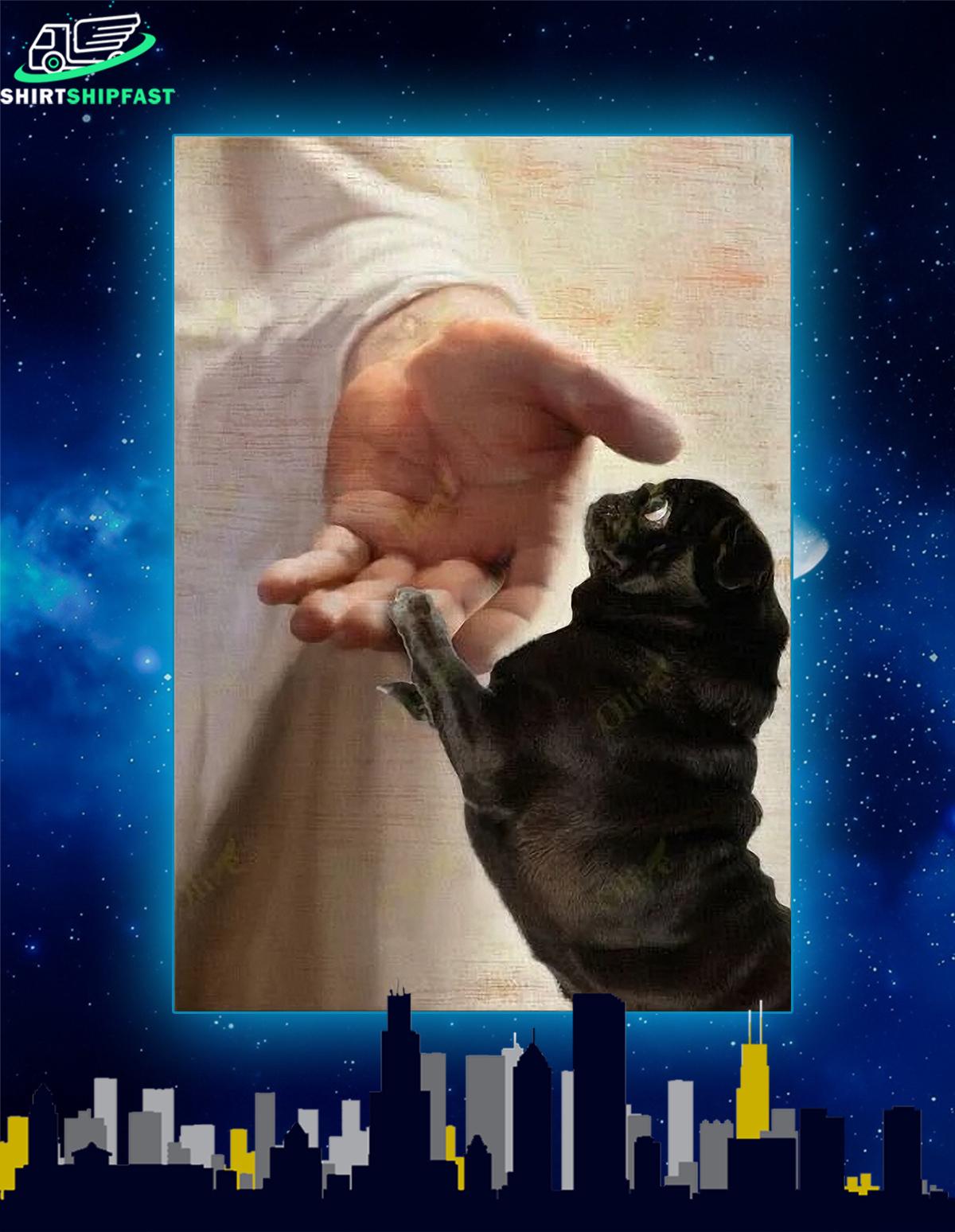 Black pug take my hand canvas