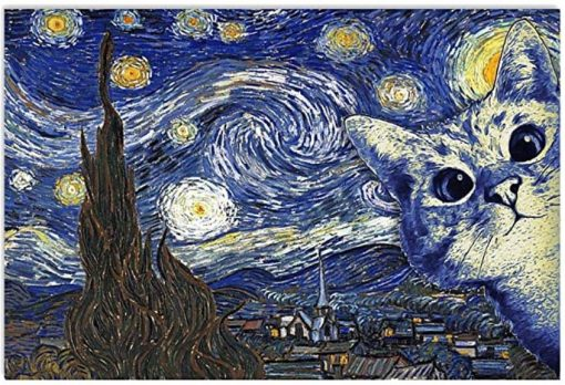 Cute Cat Van Gogh Starry Night Poster