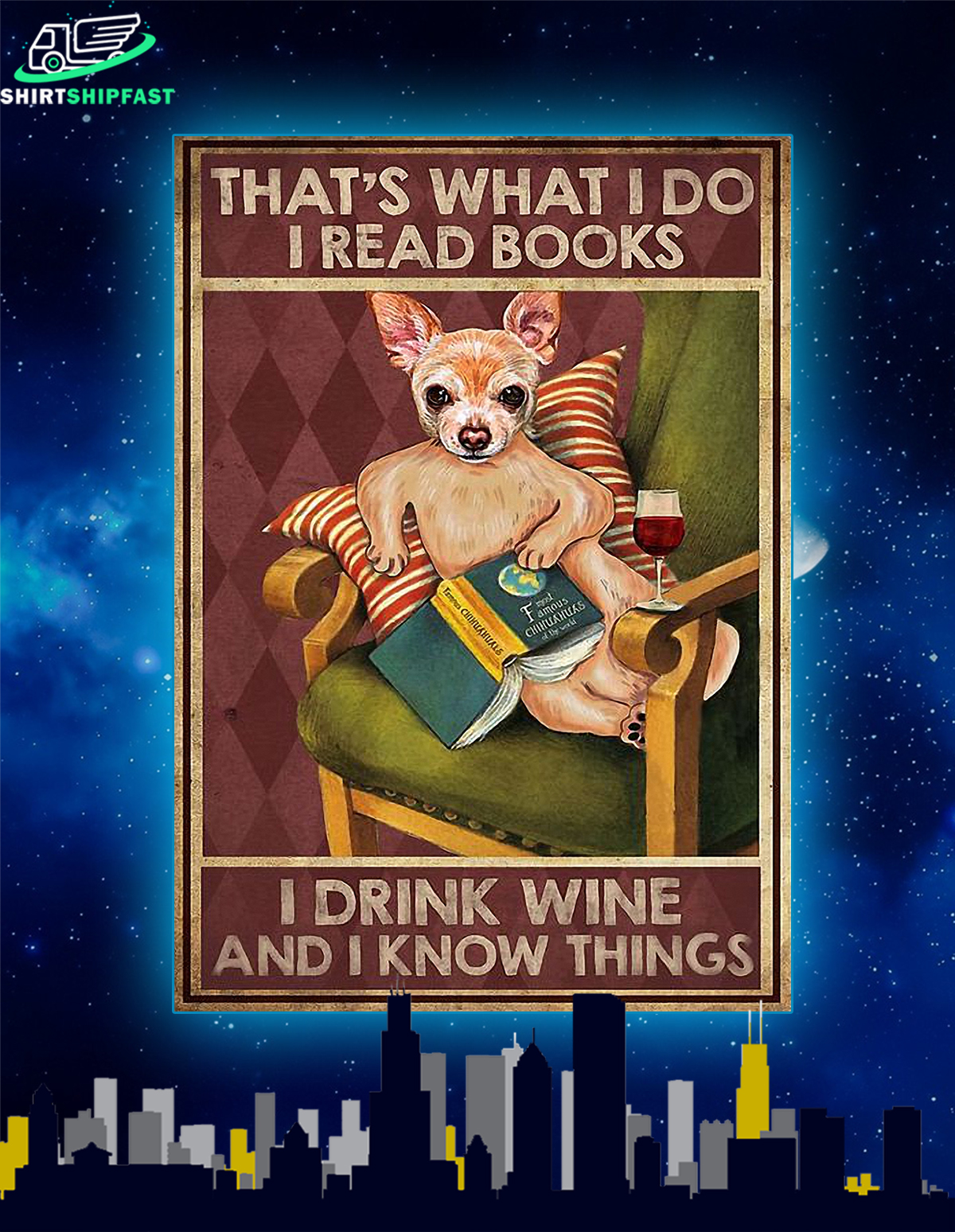 Chihuahua that's what I do I read books canvas