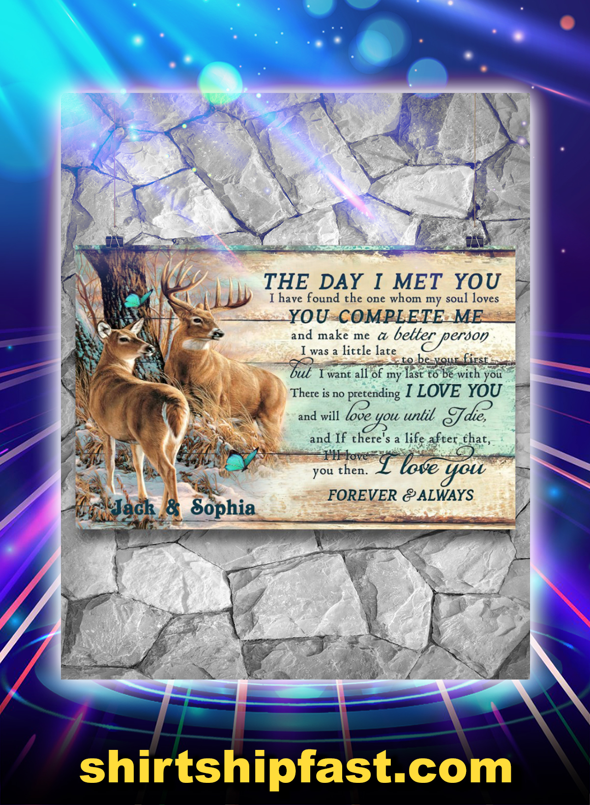 Custom name hunting buck and doe the day i met you poster
