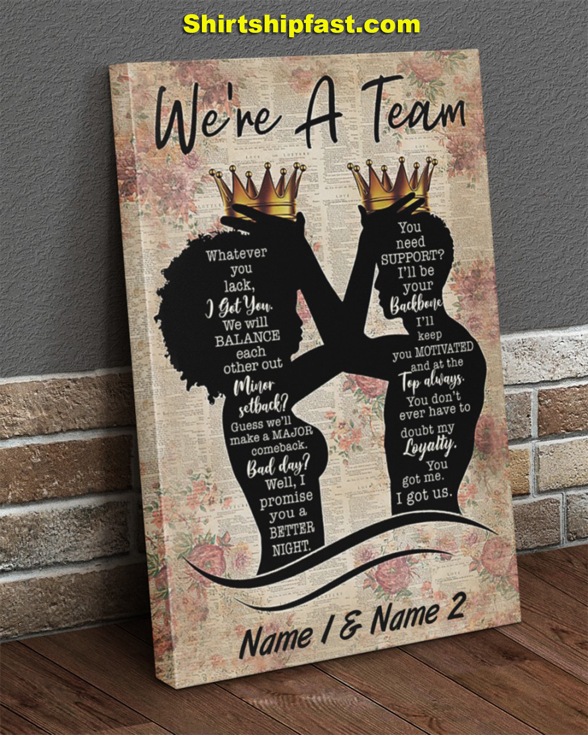 Family we're a team personalized canvas prints